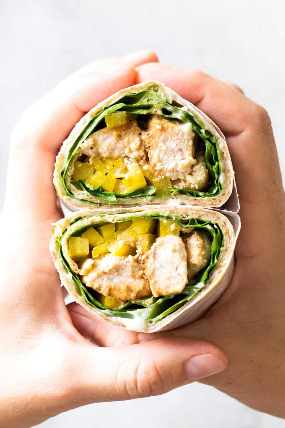 Healthy Chicken Wrap recipe, the perfect take to work or take to school lunch and it's got the most delicious Yogurt Garlic Sauce you've tried in your LIFE!