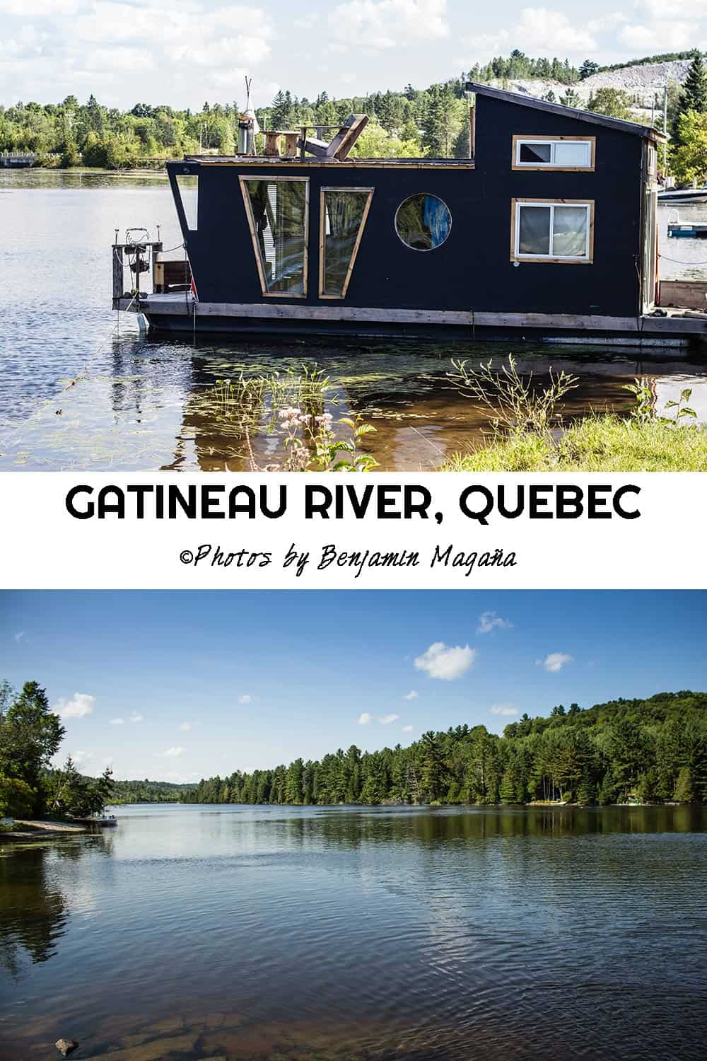 Gatineau River close to Wakefield, Quebec, Canada. Boat House for rent on AirB&B.