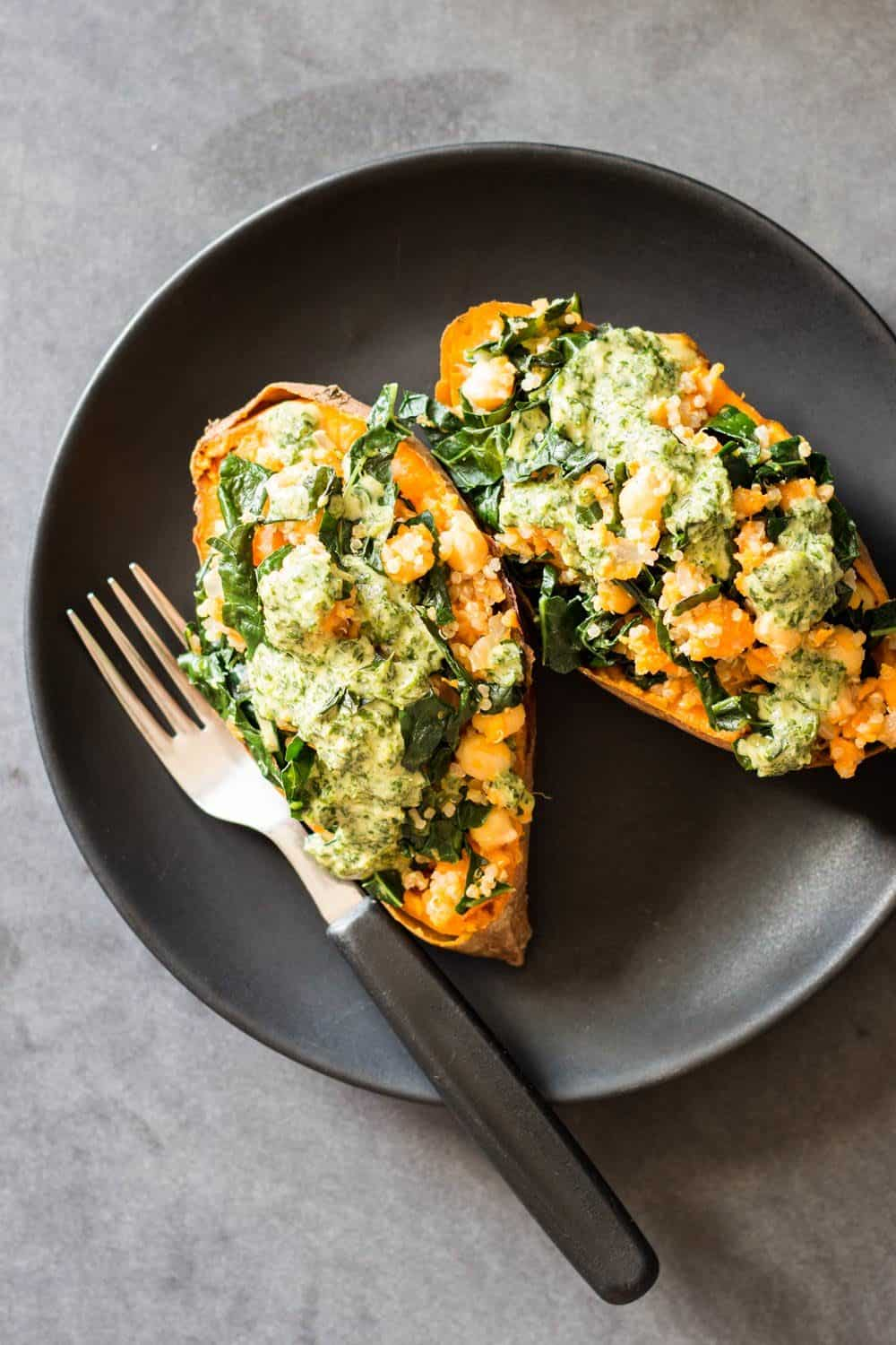 Kale Quinoa Stuffed Sweet Potatoes