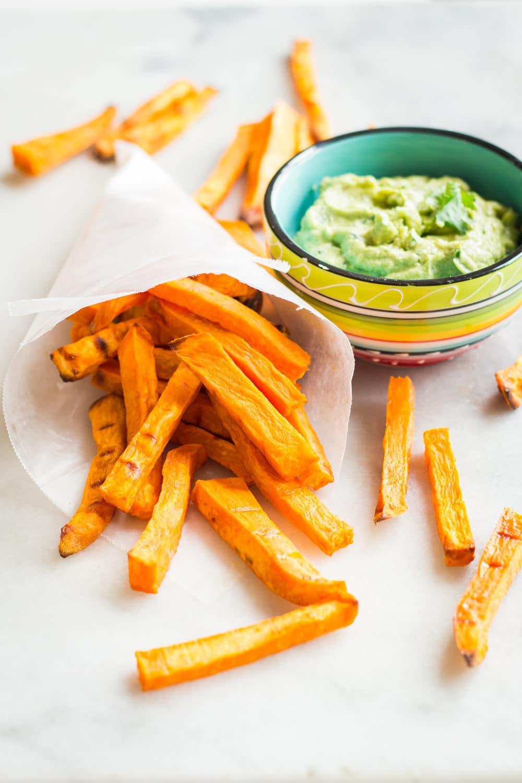 Sweet Potato Fries with Avocado Tahini Dip