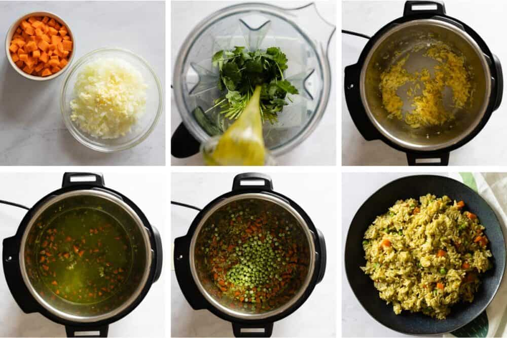 Photo collage of process of making green rice in the pressure cooker.