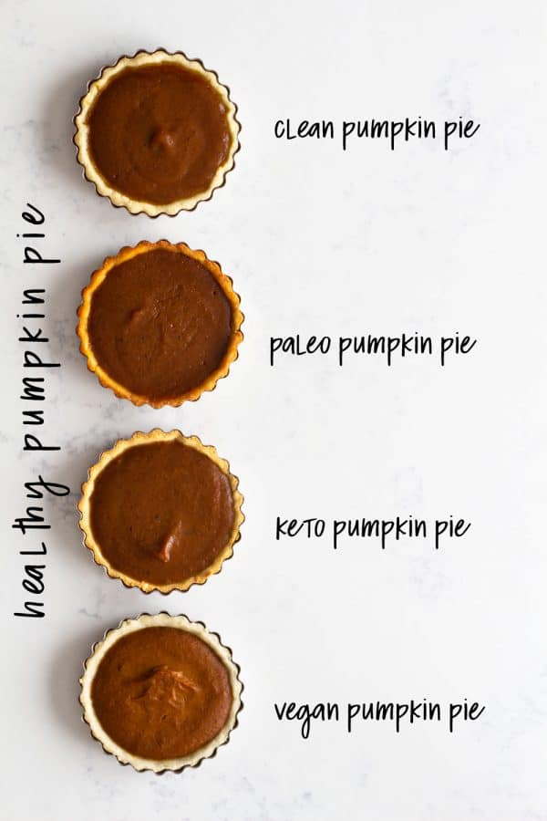 """""""Healthy"""" means a different thing for everybody. Why not be the nicest host ever and have a healthy pumpkin pie for everybody? Vegan Pumpkin Pie, Paleo Pumpkin Pie, Keto Pumpkin Pie and Regular Healthy Pumpkin Pie."""