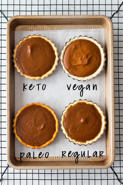 Sample of pumpkin pies on a baking tray: keto, vegan, paleo, and regular.