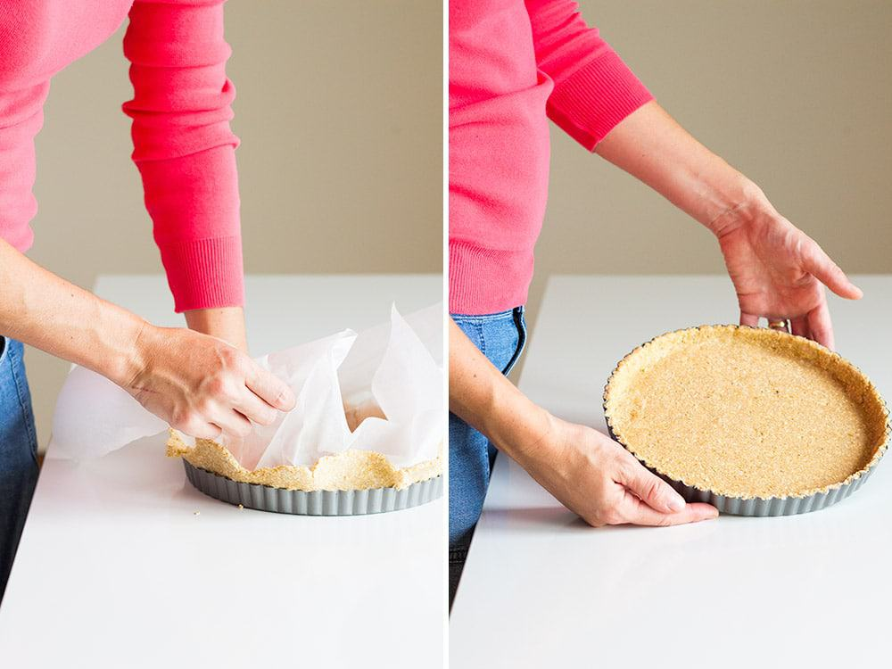 Left image: hands flattening tart crust in baking pan. Right image: hands showing finished flattened tart crust in baking pan.