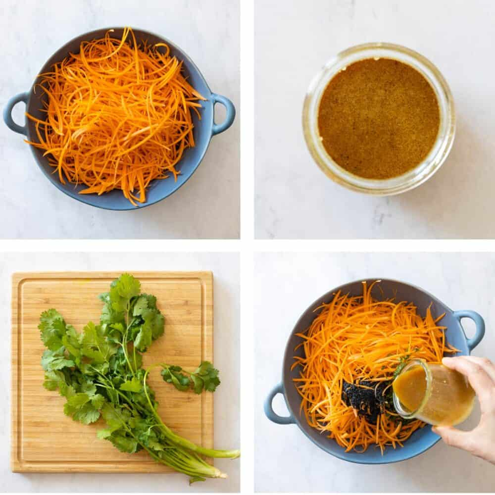 Photo collage of step-by-step process for making carrot salad.