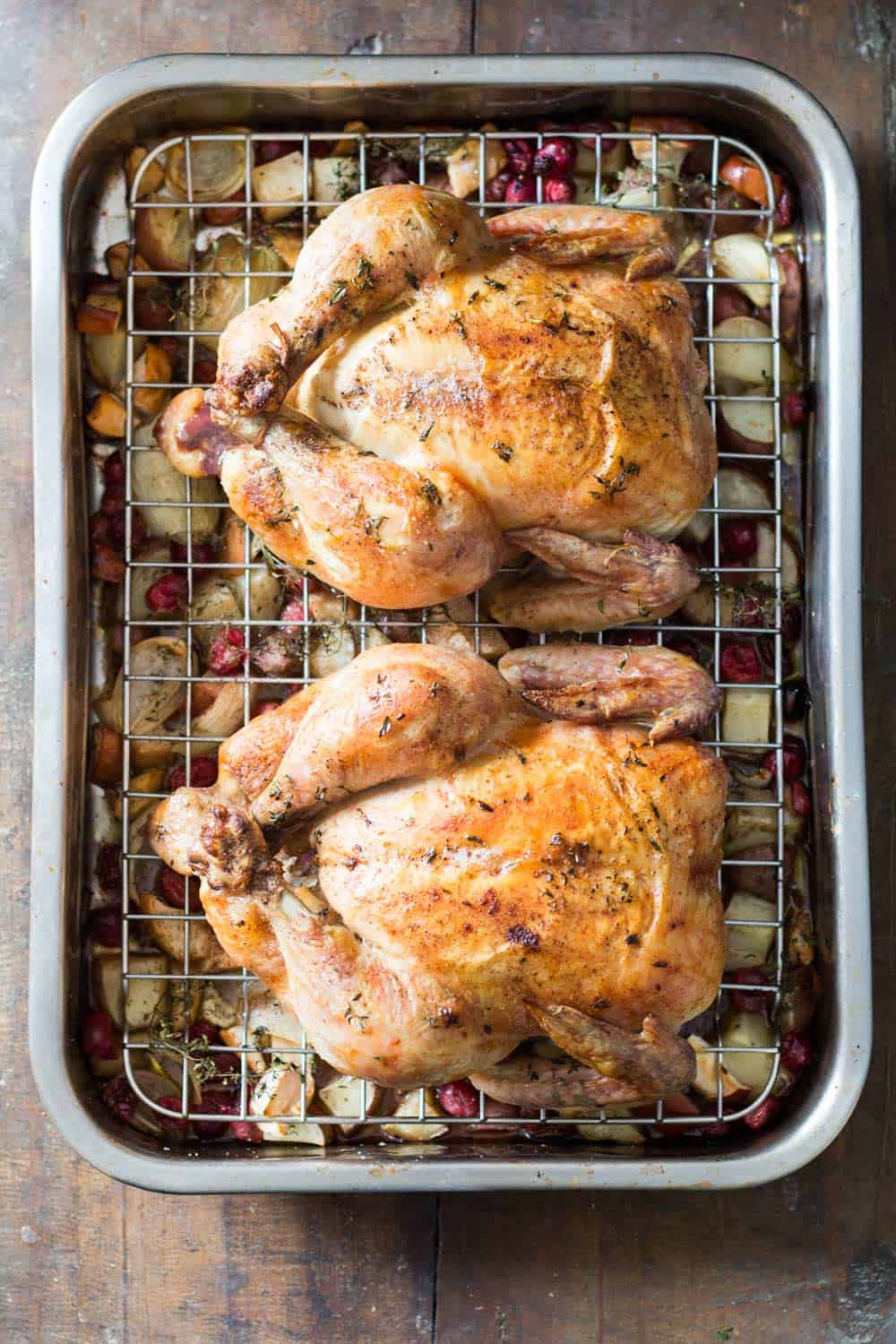 Whole roasted chickens