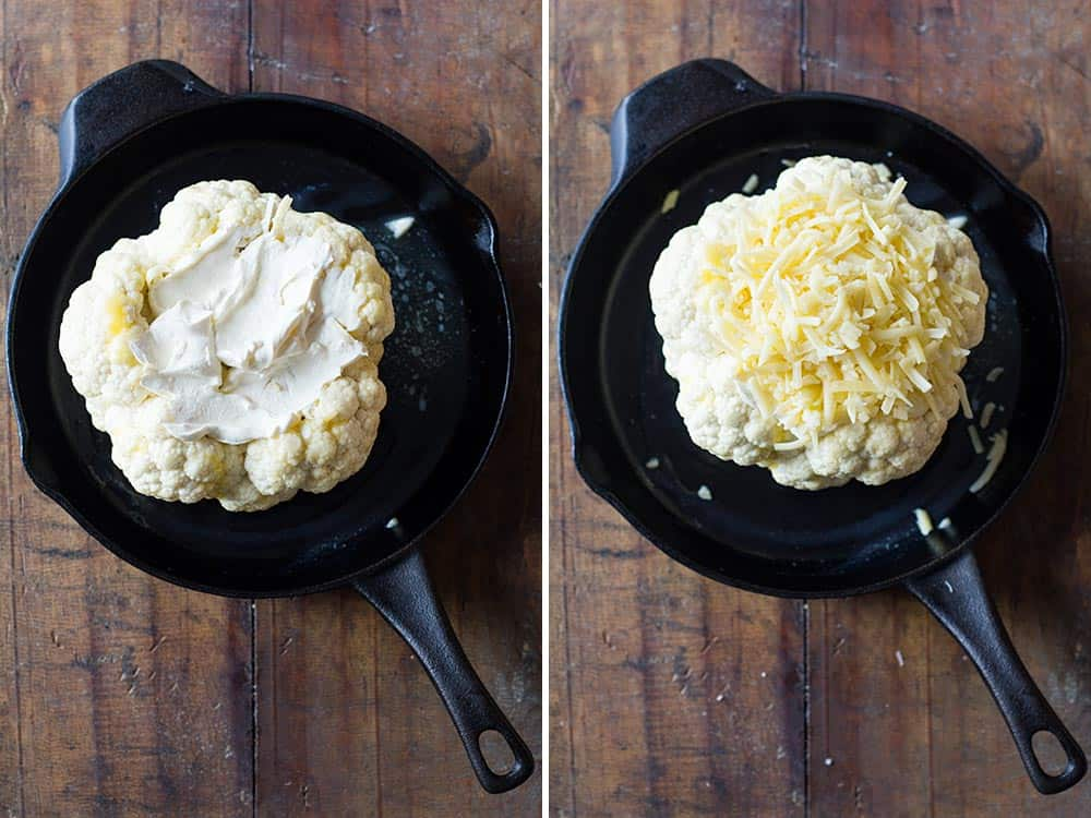 Left image: cauliflower head topped with créme fraîche in a pan. Right image: cauliflower head topped with shredded cheese in a pan.