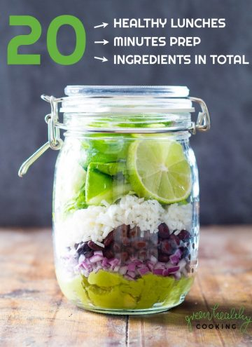 Book cover of TWENTY: 20 healthy lunch recipes, showing a jar with salad and text overlay.