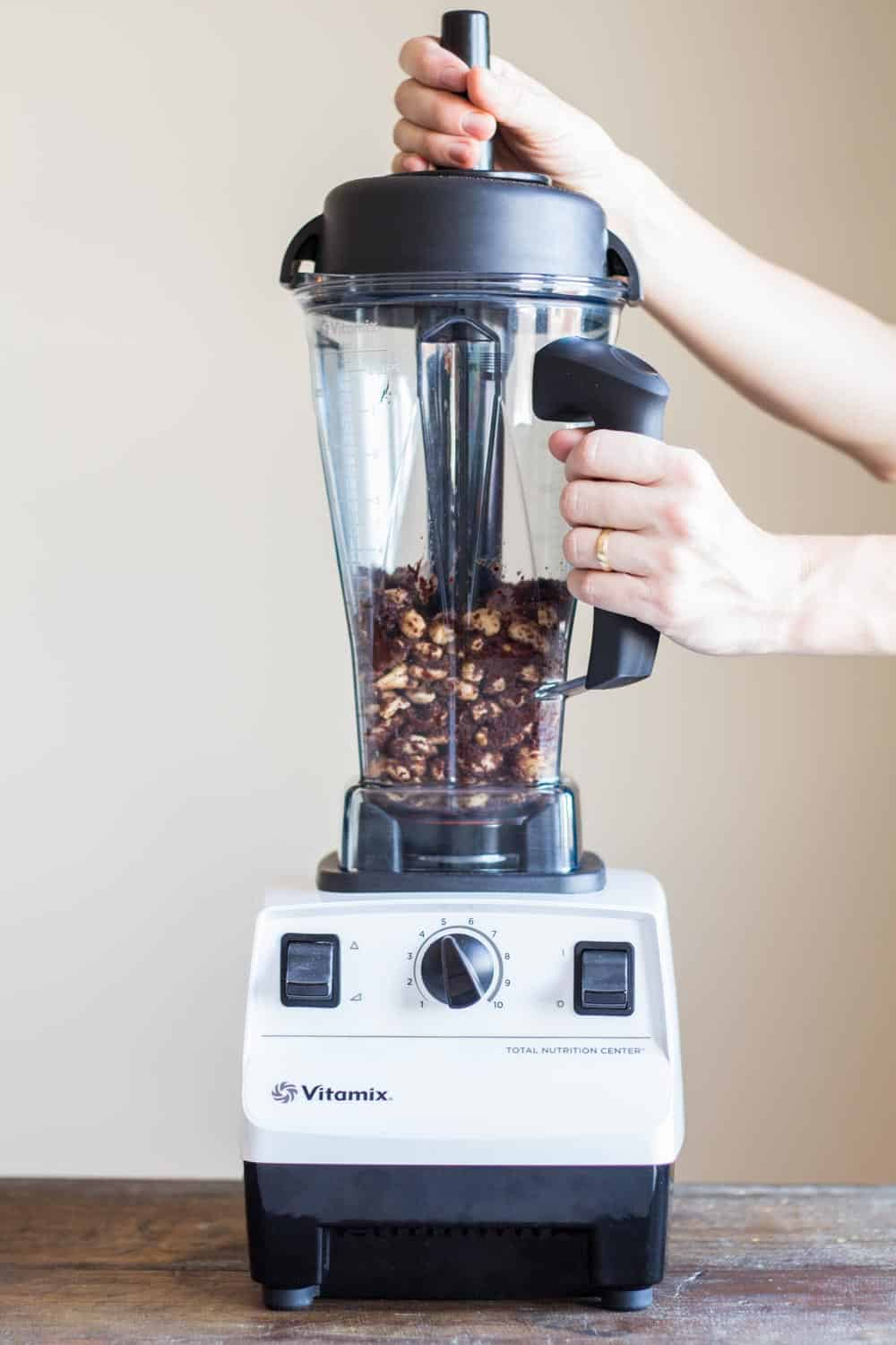 ingredients for chocolate spread inside Vitamix blender.