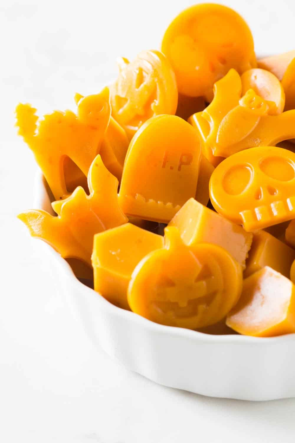 Healthy Halloween Treats gummies presented in a white bowl