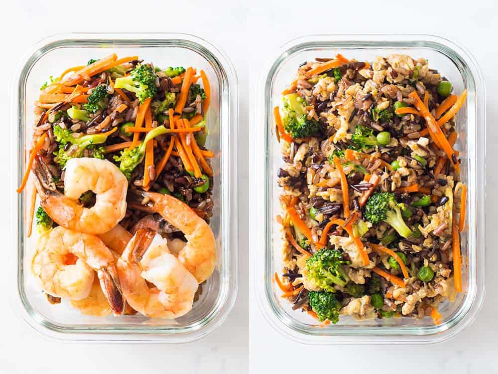 Two containers of Healthy Meal Prep Ideas. Left with shrimp, rice blend and veggies. Right with rice blend and veggies.