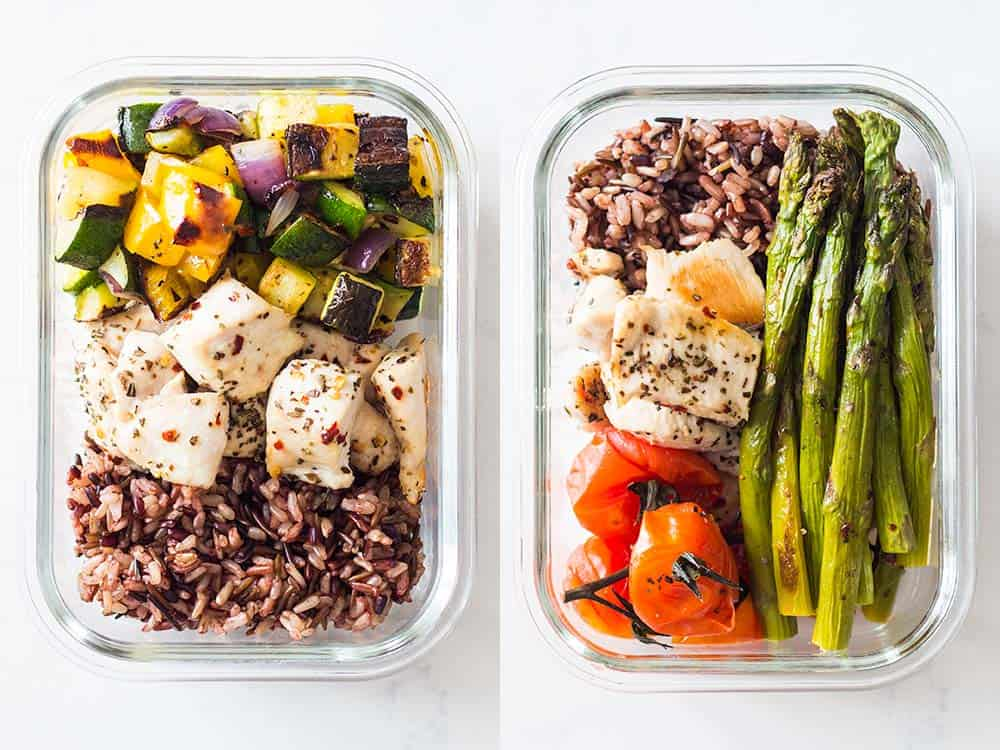 Two containers of Meal Prep Ideas. Each with a combination of rice blend, veggies and chicken.