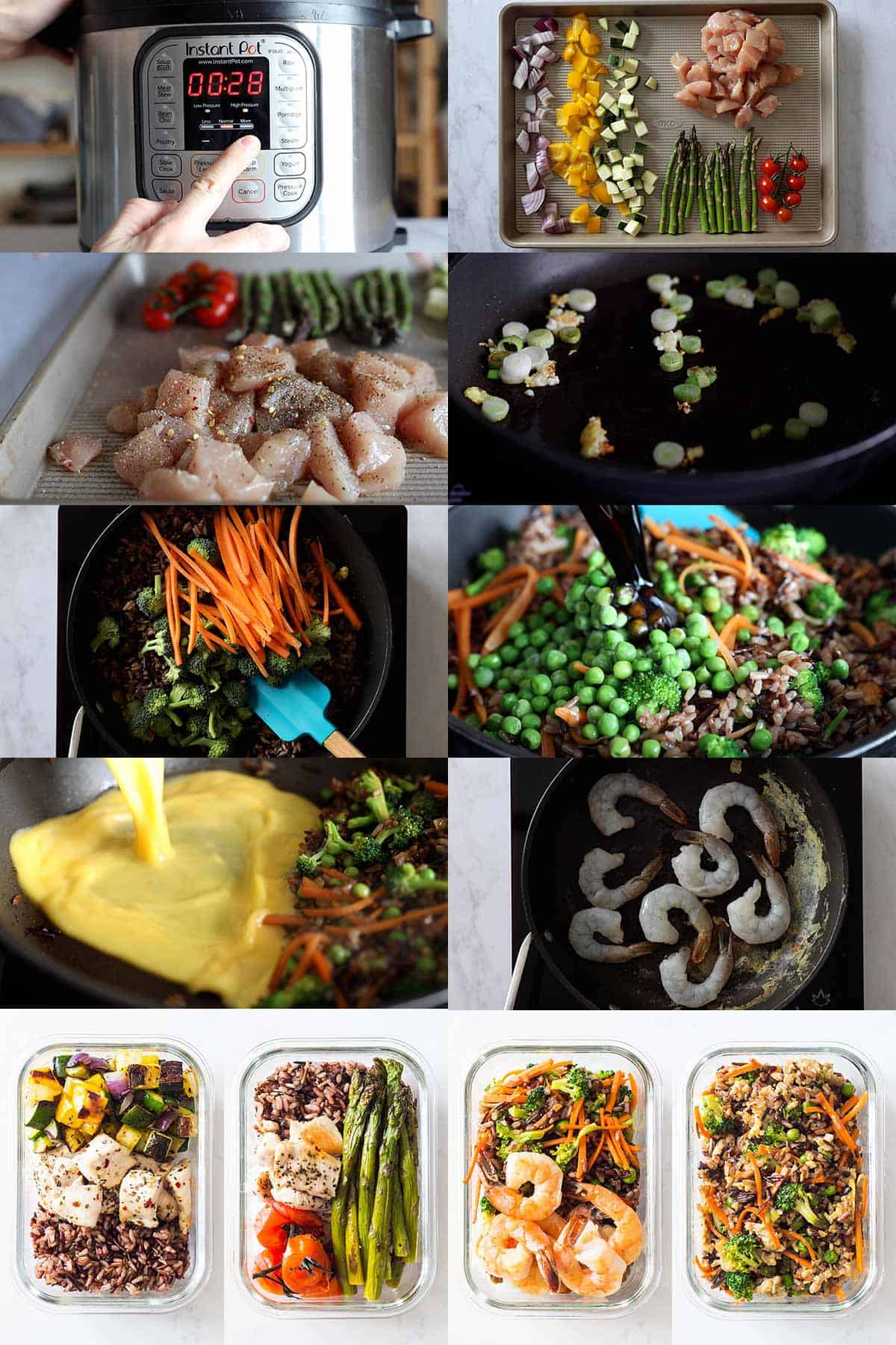Step by step photo instructions of how to meal prep 4 different lunches.