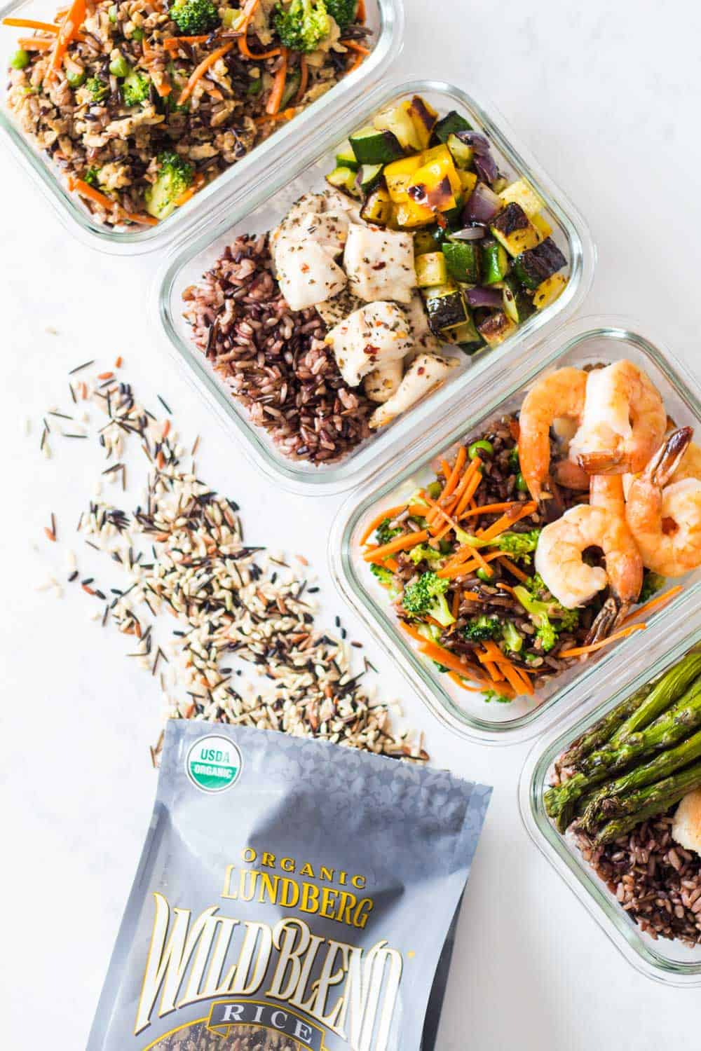 Bag of wild rice blend with spilled rice, and four containers showing different combinations of meal prep dishes.