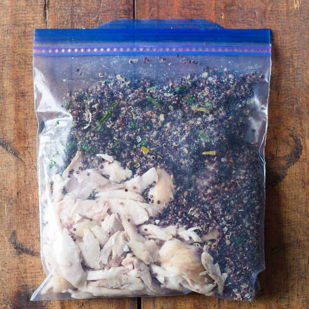 shredded chicken with black quinoa as healthy freezer meal in Ziploc bag