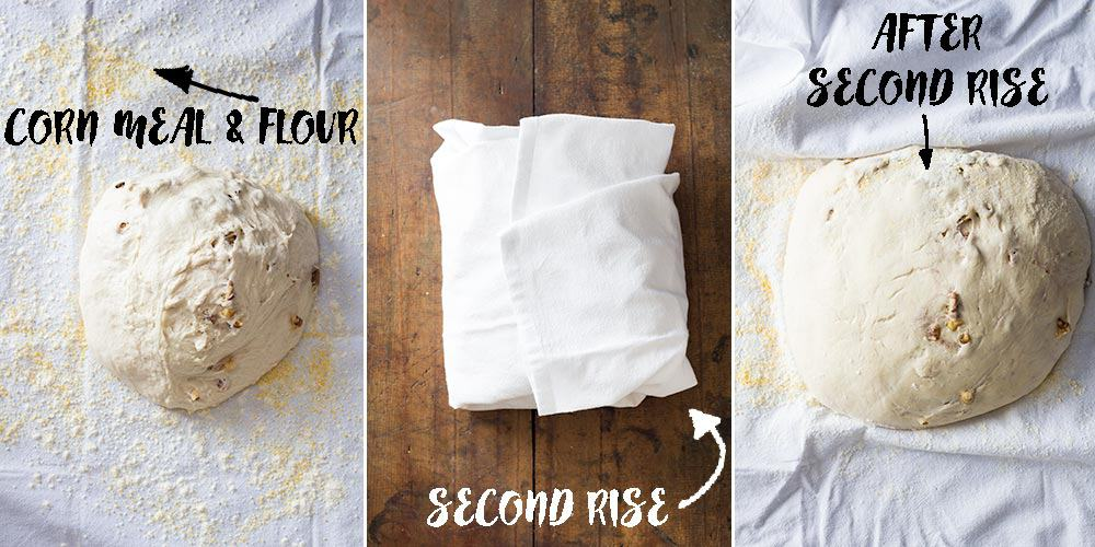 Artisan Bread dough before during and after second rise in a clean dish towel.