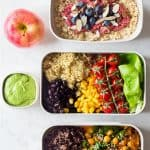 Meal prep containers filled with all the food for the vegan meal plan with text overlay for Pinterest.