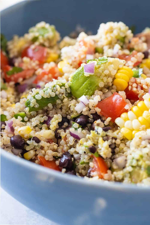 Showing texture of quinoa salad close up.