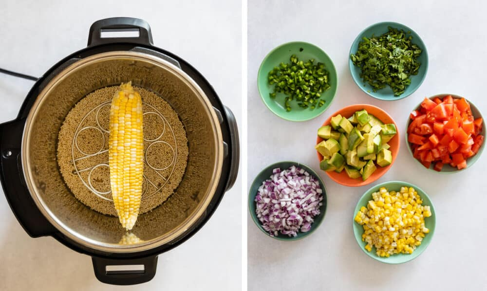 Photo collage of two images one with quinoa and corn in Instant Pot, the other chopped vegetables in bowls.