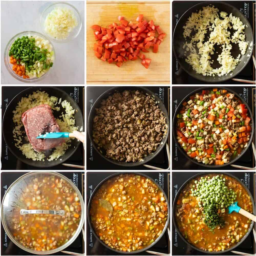 Photo collage of process of how to make Mexican picadillo step by step.