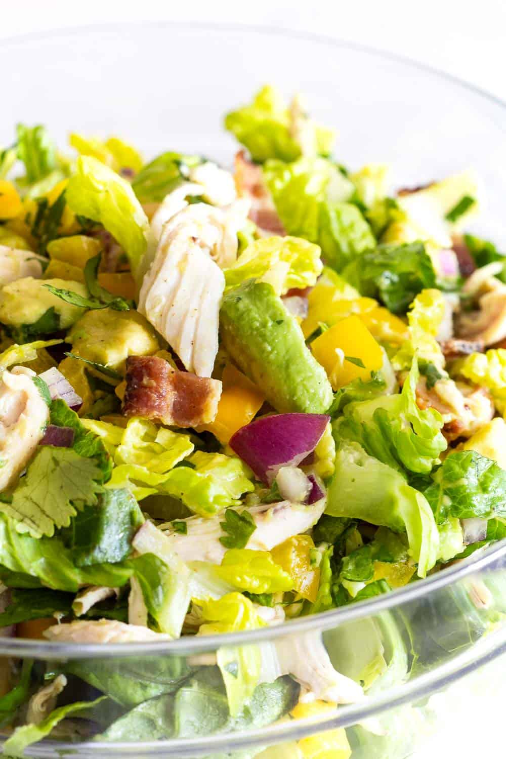 Close-up image of Chicken Avocado Salad mixed together