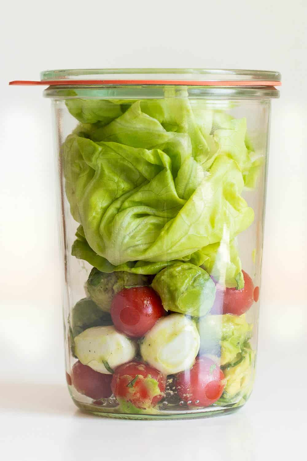 Avocado Tomato Salad ina meal prep container