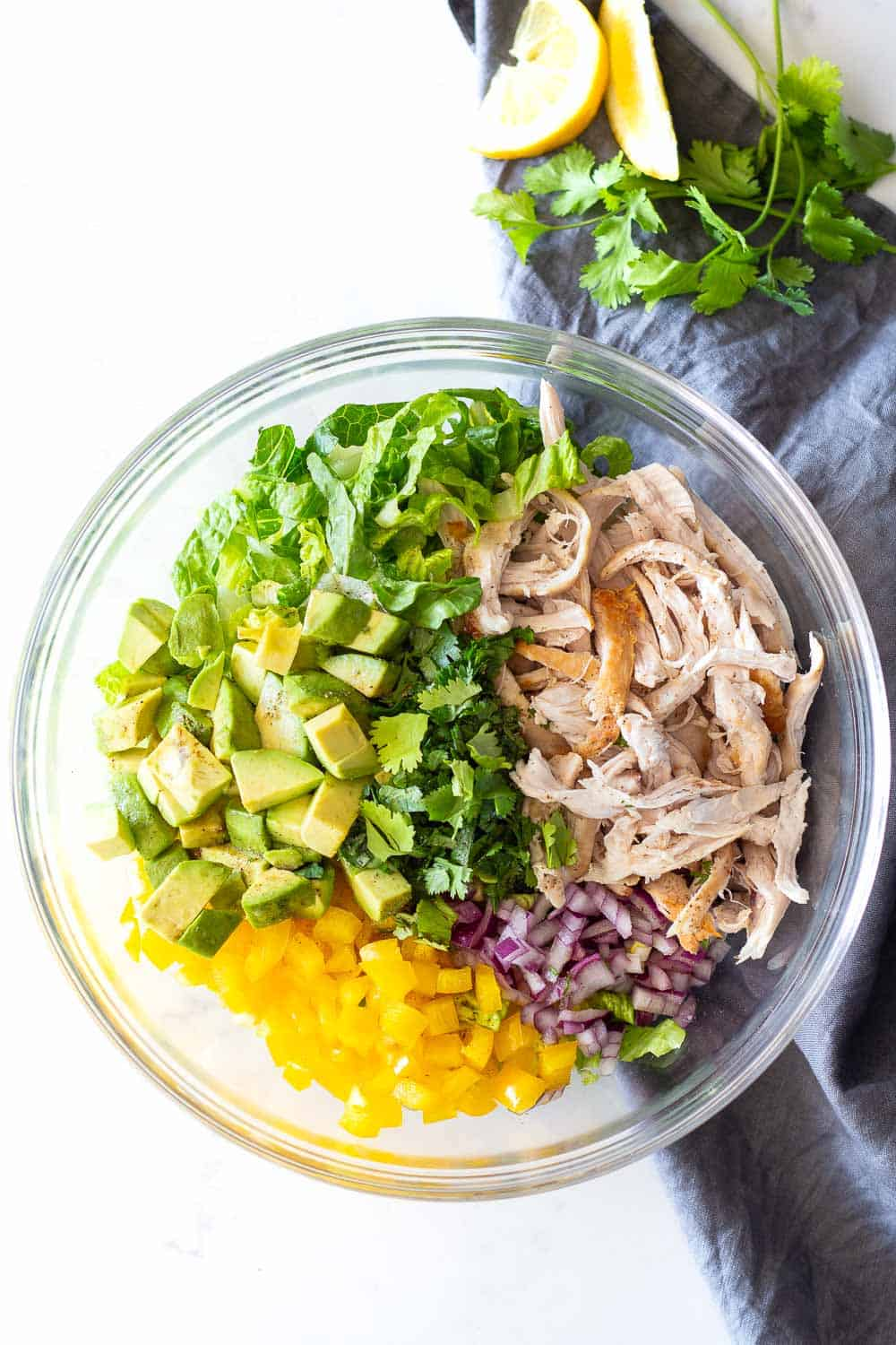 Avocado Chicken Salad in a glass bowl.