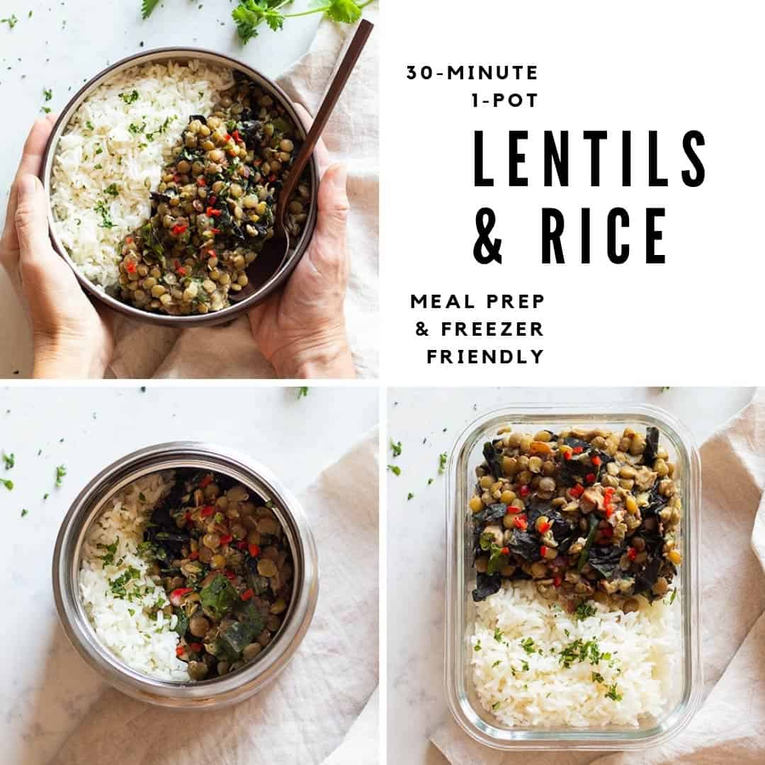 Lentils and Rice Recipe for meal prep and freezer meal prep.