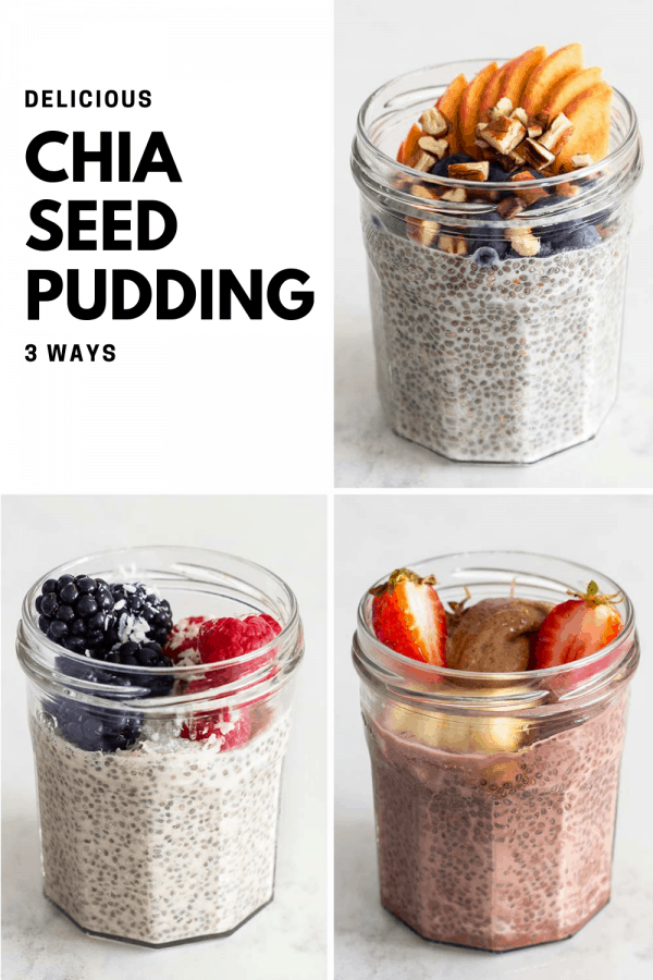 Chia Seed Pudding 3 ways. Chocolate Chia Seed Pudding, Almond Milk Chia Seed Pudding and Coconut Milk Chia Seed Pudding.