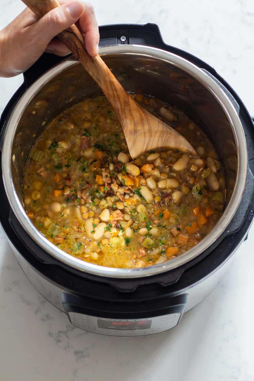 Cooked Instant Pot Lentil Soup.