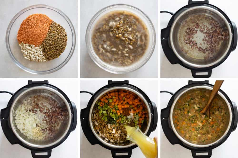 Photo collage of step-by-step instructions to make lentil soup. How To Make the Best Instant Pot Lentil Soup