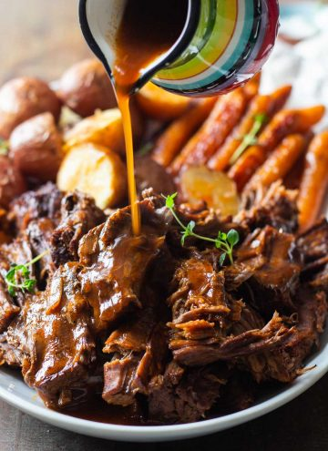 Instant Pot Pot Roast with potatoes carrots and gravy
