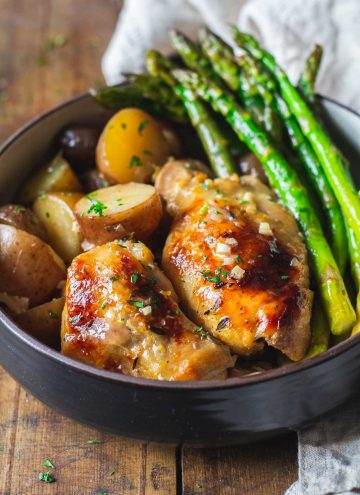 Slow-Cooker Lemon Chicken with potatoes and asparagus.