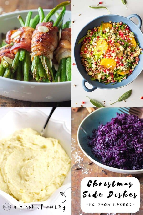 Ideas for Christmas Dinner - Side Dishes: Bacon-Wrapped Green Beans, Winter Salad, Mashed Potatoes, Braised Red Cabbage