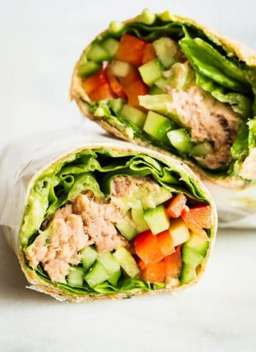 Healthy Tuna Wrap cut in two halves.