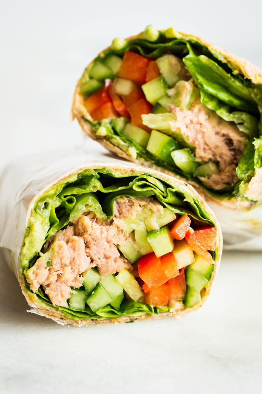 Healthy Tuna Wrap cut in two halves.