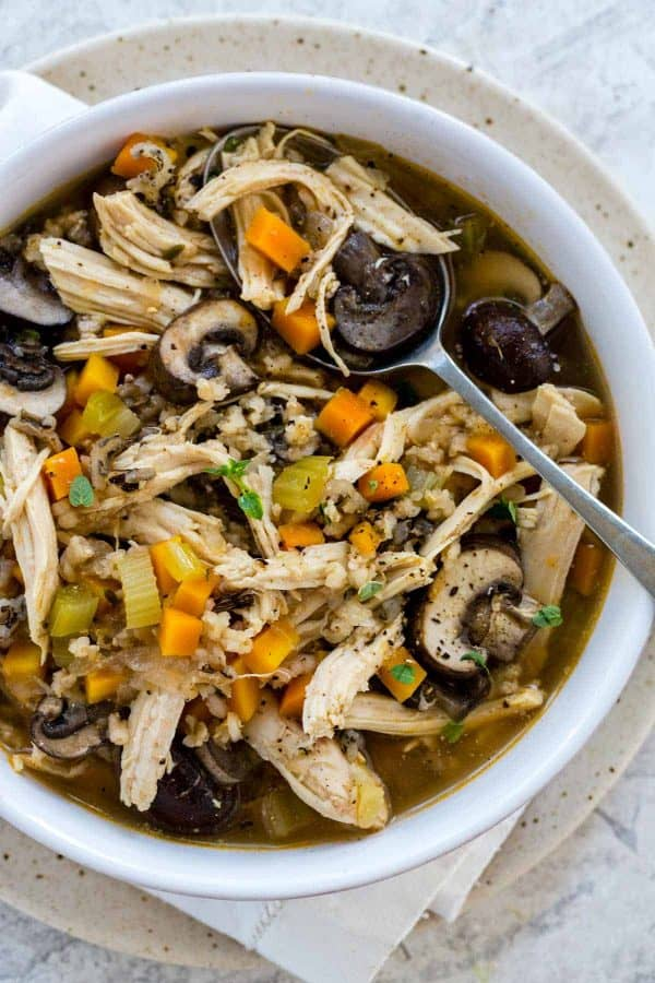 bowl of healthy chicken wild rice soup
