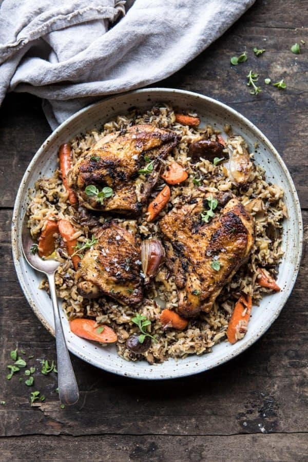 dinner plate with Herbed Chicken and Rice Pilaf