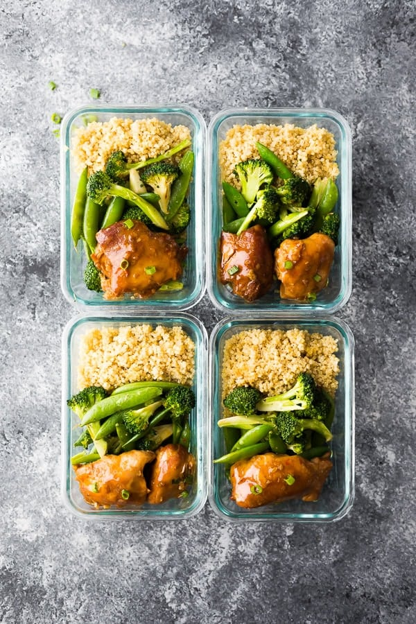 meal prep containers with sticky honey garlic chicken thighs dinner