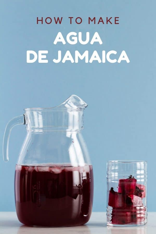 Agua de Jamaica in a pitcher with Ice