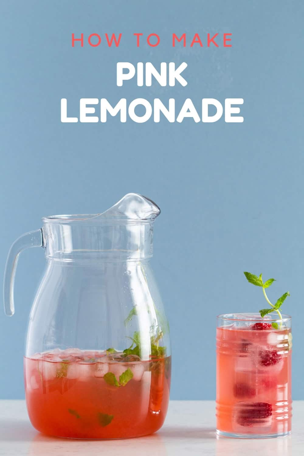 Pink Lemonade in Pitcher and Glass