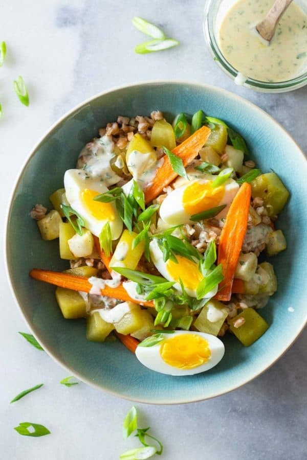 Warm Farro Salad in a bowl