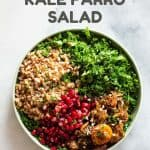 Middle Eastern Farro Salad in a green bowl