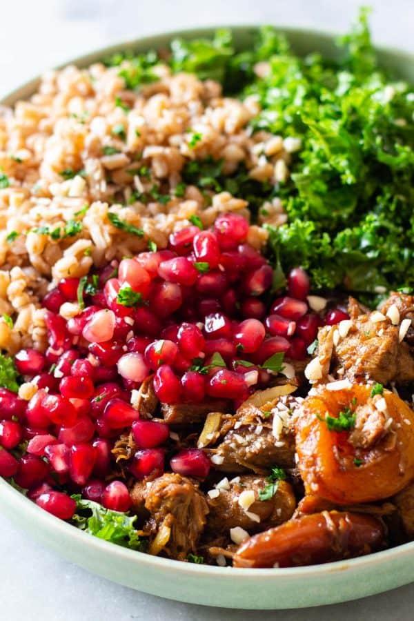 Middle Eastern Farro Salad Closeup