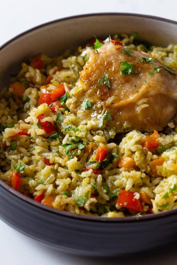 chicken and rice dinner in serving bowl