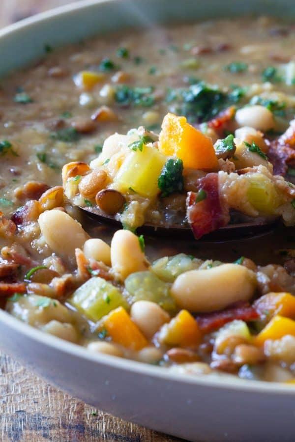 Crockpot Lentil Soup Closeup