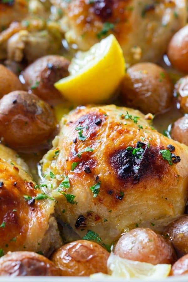 Closeup of Lemon Garlic Chicken and Baby Potatoes
