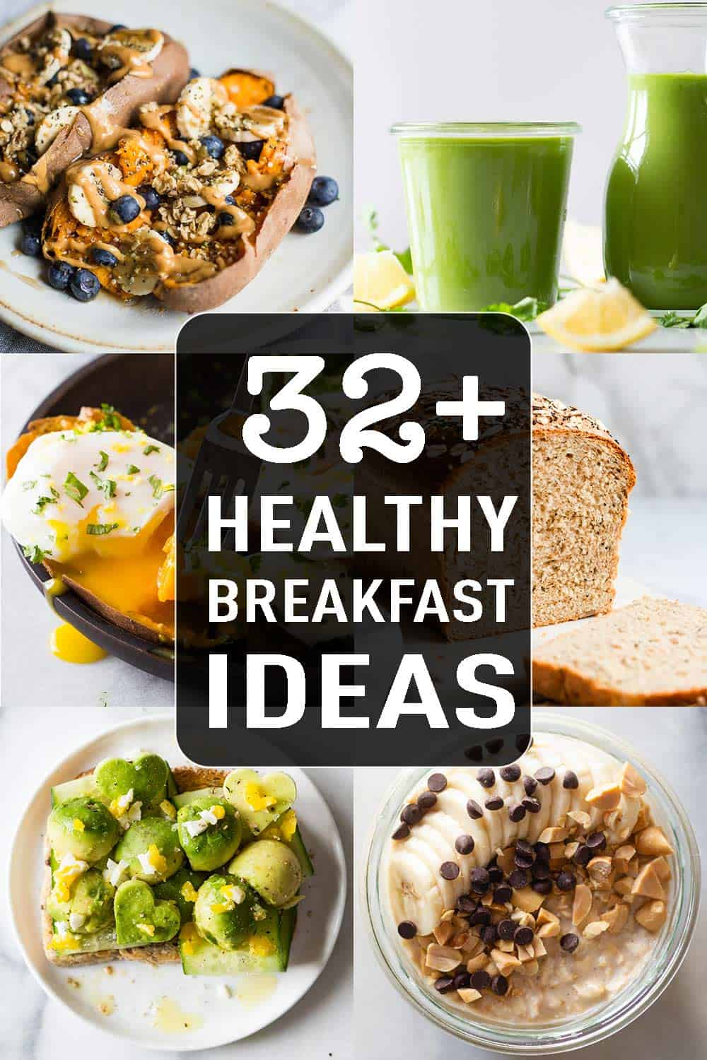 photo collage of 6 breakfast ideas with text overlay