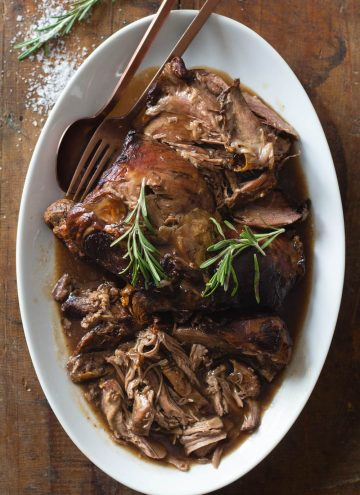 Leg of lamb on a serving platter