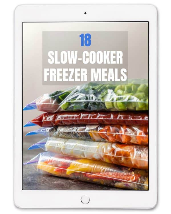 e-Book Cover on iPad, 5 freezer meals in ziplocs and text overlay